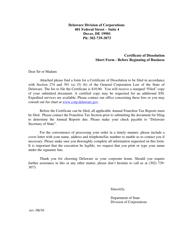 """Short Form Certificate of Dissolution Before Beginning Business"" - Delaware"