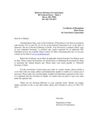 """Short Form Certificate of Dissolution of Non-stock Corporation"" - Delaware"