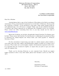 """Certificate of Dissolution for Non-stock Corporation"" - Delaware"