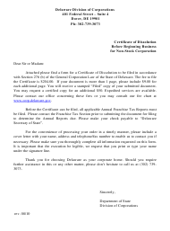 """""""Certificate of Dissolution Before Beginning Business of Non-stock Corporation"""" - Delaware"""