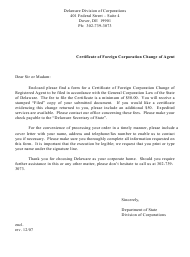 """""""Certificate of Change of Registered Agent of a Foreign Corporation"""" - Delaware"""
