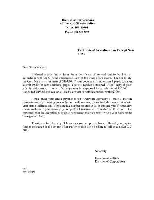 """Certificate of Amendment for Exempt Non-stock"" - Delaware Download Pdf"