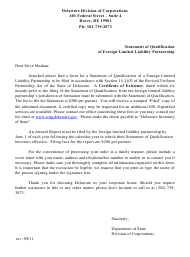 """""""Statement of Qualification of Foreign Limited Liability Partnership"""" - Delaware"""
