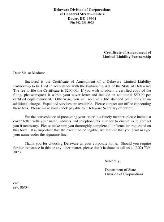"""""""Certificate of Amendment of Limited Liability Partnership"""" - Delaware Download Pdf"""