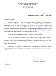 """""""Annual Report for Foreign Liability Limited Partnership"""" - Delaware"""