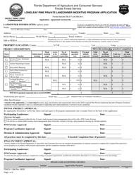 """Form FDACS-11386 """"Longleaf Pine Private Landowner Incentive Program Application"""" - Florida"""