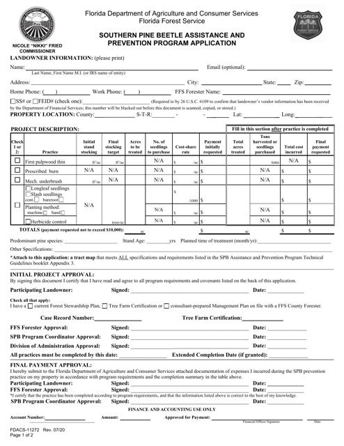 Form FDACS-11272 Printable Pdf