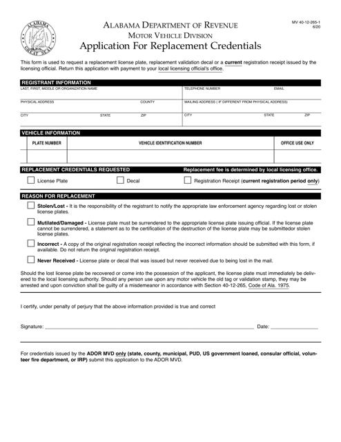 Form MV40-12-265-1 Printable Pdf