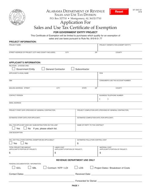 Form ST: EXC-01  Printable Pdf
