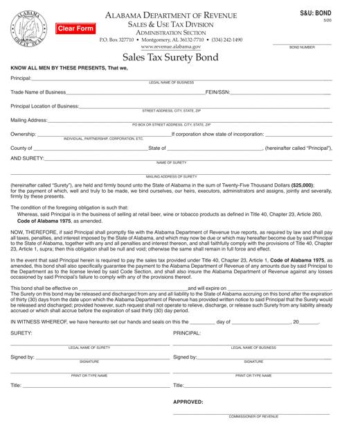 Form S&U: BOND  Printable Pdf