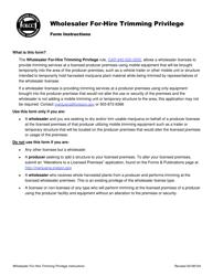"""Form MJ17-4200 """"Wholesaler for-Hire Trimming Privilege"""" - Oregon"""