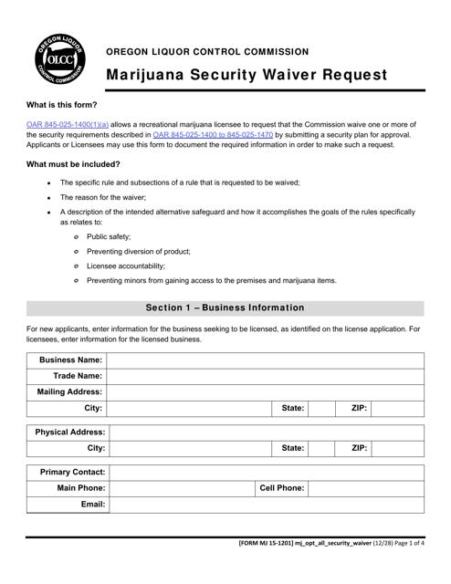Form MJ15-1201  Printable Pdf