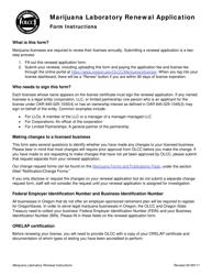 "Form MJ17-6025 ""Marijuana Laboratory Renewal Application"" - Oregon"