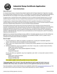 "Form MJ18-2700 ""Industrial Hemp Certificate Application"" - Oregon"