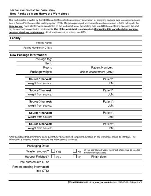 Form MJ MED18-0216  Printable Pdf