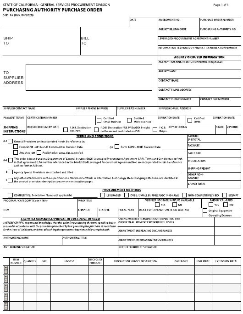 Form STD.65  Printable Pdf