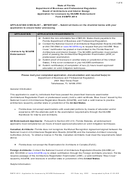 """Form DBPR AR6 """"Application for Licensure by Ncarb Endorsement"""" - Florida"""