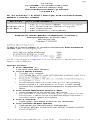 "Form DBPR ID2 ""Application for Registered Interior Design Reactivation"" - Florida"