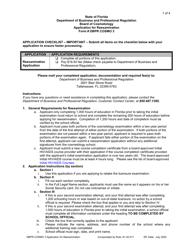 "Form DBPR COSMO3 ""Application for Reexamination"" - Florida"