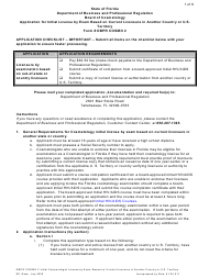 """Form DBPR COSMO2 """"Application for Initial License by Exam Based on Current Licensure in Another Country or U.S. Territory"""" - Florida"""