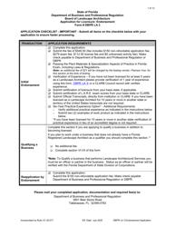 """Form DBPR LA3 """"Application for Licensure: Endorsement"""" - Florida"""