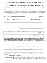 "Form HSMV82082 ""Off-Line Issuance of a Pre-printed Temporary License Plate"" - Florida"