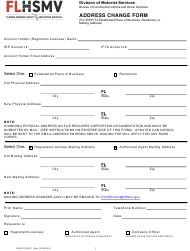 "Form HSMV85041 ""Address Change Form"" - Florida"