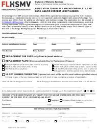 "Form HSMV85100 ""Application to Replace Apportioned Plate, Cab Card, and/or Correct Usdot Number"" - Florida"
