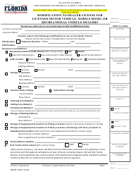 "Form HSMV86072 ""Modification to Dealer License for Licensed Motor Vehicle, Mobile Home, or Recreational Vehicle Dealers"" - Florida"