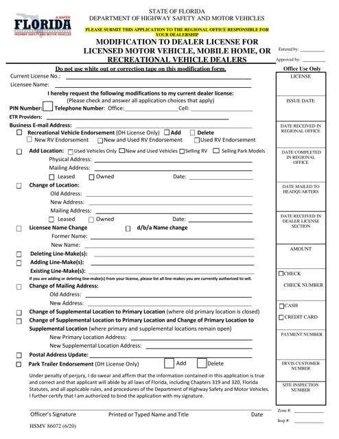 Form HSMV86072 Printable Pdf