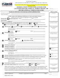 "Form HSMV86072 ""Modification to Dealer License for Licensed Motor Vehicle, Mobile Home, or Recreational Vehicle Dealers"" - Florida"