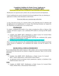 "Form HSMV86072 ""Modification to Dealer License for Licensed Motor Vehicle, Mobile Home, or Recreational Vehicle Dealers"" - Florida, Page 2"