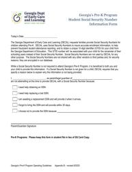 "Appendix B ""Georgia's Pre-k Program Student Social Security Number Information Form"" - Georgia (United States)"