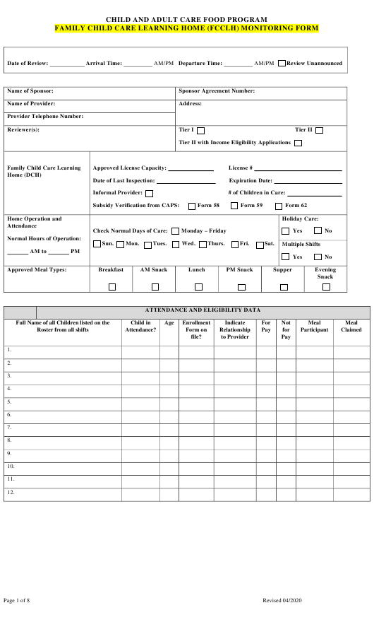 """""""Family Child Care Learning Home (Fcclh) Monitoring Form"""" - Georgia (United States) Download Pdf"""