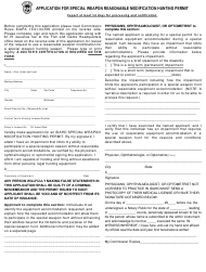 """Application for Special Weapon Reasonable Modification Hunting Permit"" - Idaho"