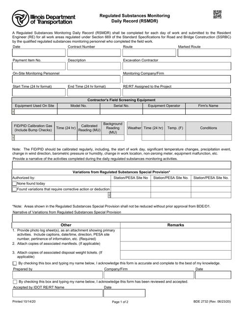 Form BDE2732 Printable Pdf
