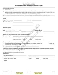 """Formulario SC-LS1705.1 """"Carta Al Alguacil (Formulario Para Hacer La Entrega Legal)"""" - Illinois (Spanish)"""
