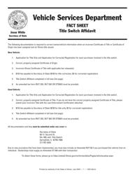 "Form VSD624 ""Title Switch Affidavit"" - Illinois"
