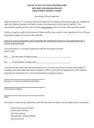 """Notice to out-of-state Corporations Applying for Indiana Private Employment Agency License"" - Indiana"