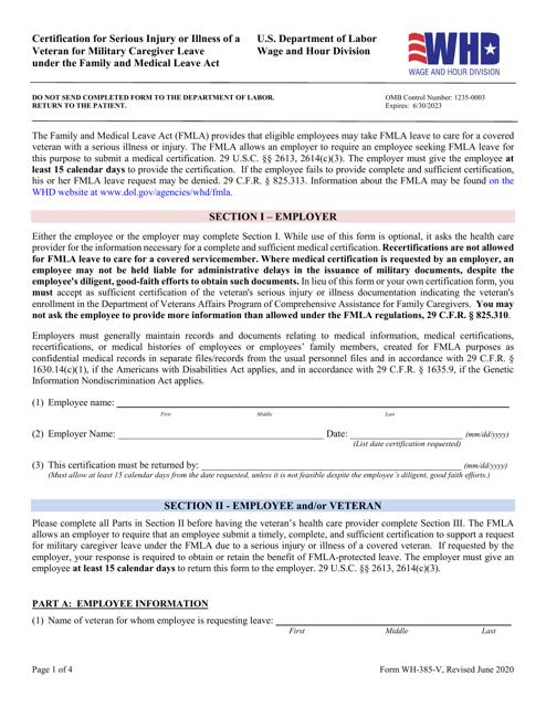 Form WH-385-V Printable Pdf