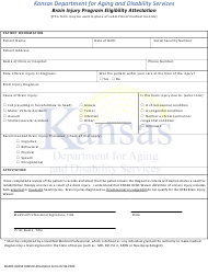 """Brain Injury Program Eligibility Attestation"" - Kansas"