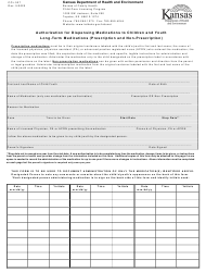 "Form CCL.027 ""Authorization for Dispensing Medications to Children and Youth Long-Term Medications (Prescription and Non-prescription)"" - Kansas"