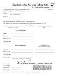 """Form AV7 """"Application for Advance Voting Ballot by a Former Precinct Resident"""" - Kansas"""