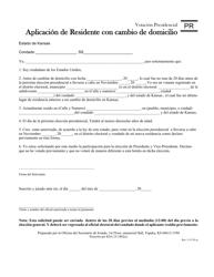 """Formulario PR """"Aplicacion De Residente Con Cambio De Domicilio"""" - Kansas (Spanish)"""