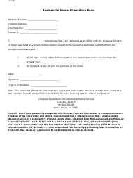 """Residential Home Attestation Form"" - Louisiana"
