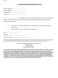 """Juvenile Detention Attestation Form"" - Louisiana"