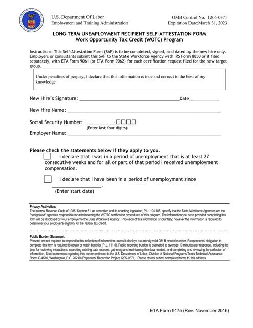 ETA Form 9175  Printable Pdf