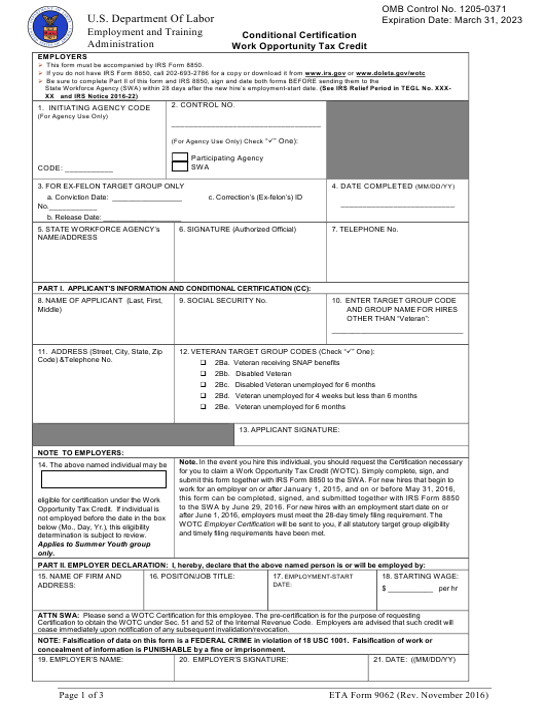 ETA Form 9062  Printable Pdf