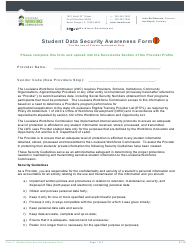 "Form F ""Student Data Security Awareness Form"" - Louisiana"