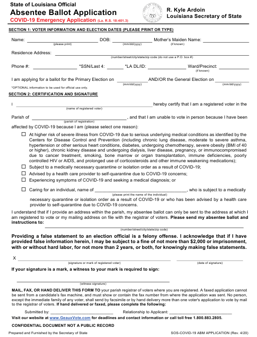 """Temporary Covid-19 Absentee Ballot Application"" - Louisiana Download Pdf"